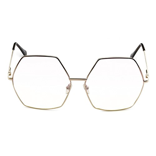 CY SUN OVERSIZED VINTAGE RETRO Style Clear Lens EYE GLASSES Huge XL Gold Hexagon - Eyeglass Frames Hexagon