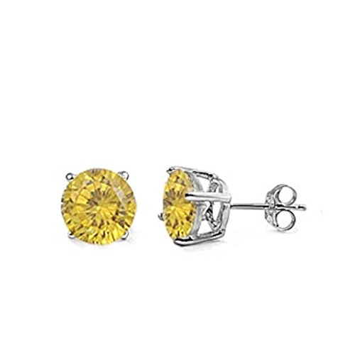 (Solitaire Stud Post Earring Round Simulated Yellow Cubic Zirconia 925 Sterling Silver)