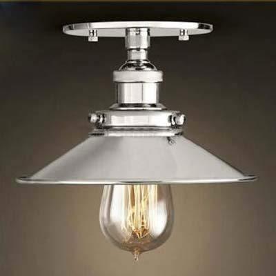 - BOSSLV Semi-Flush Mount Lamp 22Cm E27 Celling Light Kitchen Lamp Ceiling Fixture Industrial Lighting Polished Chrome
