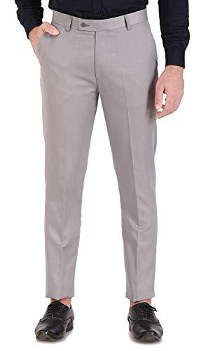 UNLEASHED Men's Slim FIT Formal Trousers (Light Grey)