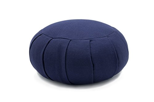 Deluxe Zafu Meditation Cushion with Removable and Washable Cover - Made in USA (Navy, Kapok Fibers Filling)