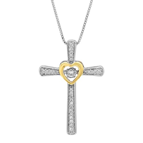 Sterling Silver and 14k Yellow Gold Genuine Dancing Diamond Cross and Heart Pendant Necklace (1/5 cttw., J-K Color, I2-I3 Clarity), 18