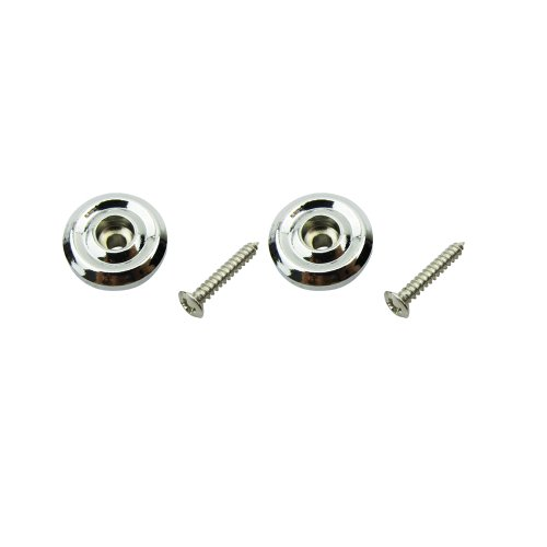Musiclily Round String Retainer Rondelle String Tree Guides Set for Jazz Bass/Precision Bass Guitar Replacement, Chrome(Pack of 2)