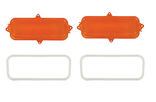 Pirate Mfg (2) 1960-1966 Chevy Truck Parking Light Lenses with Gaskets, Amber Lens, ()