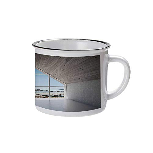 White Decor Stylish Enameled Cup,Modern Calm Relaxing Lounge with Sea Ocean Coastal Scenery View for Daily Use,2.9