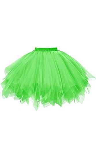 Musever 1950s Vintage Ballet Bubble Skirt Tulle Petticoat Puffy Tutu Green XX-Large/XXX-Large ()