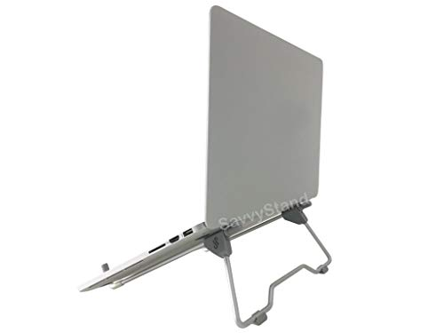 SavvyStand Stand Perfect for Laptop/iPad/Notebook. Light Weight, Foldable, Portable, Adjustable Height Width & Angle, Gery