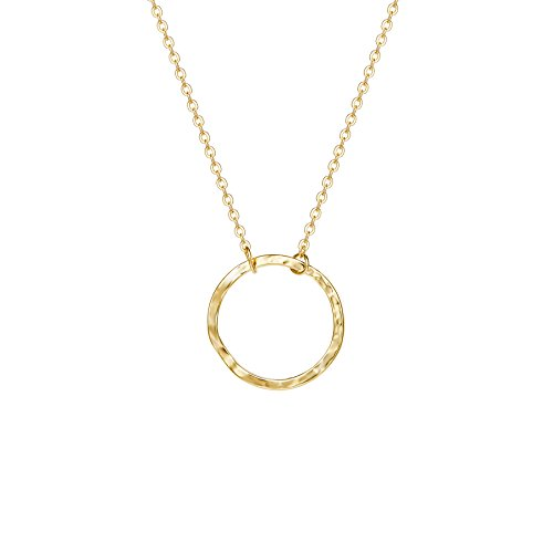 - Open Circle Necklaces for Women Dainty Handmade 14K Gold Carved Round Pendant Minimalist Jewelry Mothers Day Jewelry Gift (Larger New Moon)