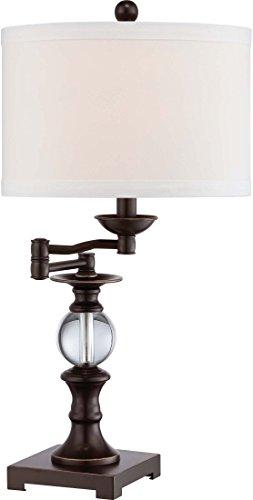 (Quoizel Q1632TPN Buckler Crystal Swing Arm Table Lamp, 1-Light, 100 Watts, Palladian Bronze (24