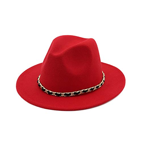 Lisianthus Women's Felt Wide Brim Fedora Hat Black & Red Color Block (Type -