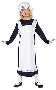 Smiffy's Smiffys-33714L Disfraz de Chica pobre Victoriana, Blanca, con Vestido con Delantal y Gorro de v Color, L - Edad 10-12 años 33714L