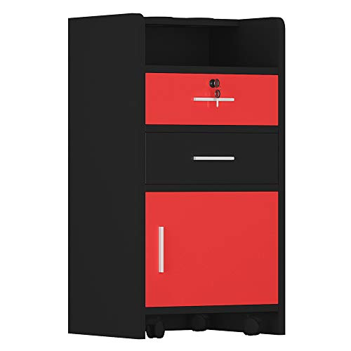 Festnight 3-Tier Salon Styling Station Cabinet with 2 Drawer and Bottom Storage Cabinet Wood Lockable Rolling Trolley Spa Cabinet Equipment Black and Red