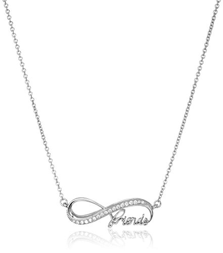 925 Sterling Silver and AAA Cubic Zirconia Infinity Friends Necklace, 18