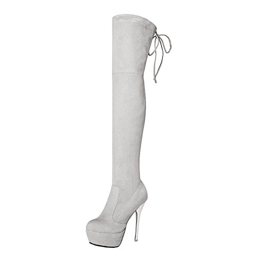 ENMAYER Mujeres Nubuck Tacones altos de cuero sobre la rodilla Slip-on plataforma sólida botas de invierno Gris claro(Estilete 13.5cm)