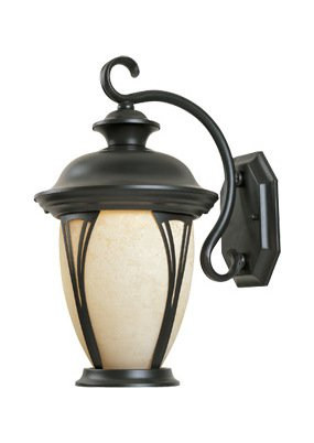 Bronze w/amber glass 3 Light 11in. Wall Lantern from the Westchester Collection by Designers Fountain