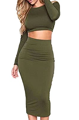 Sunfury Womens Long Sleeve Backless Crop Top Midi Skirt Outfit Two Piece Bodycon Dress