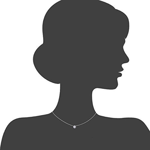 Revoni Bague en or blanc 9carats-Collier Femme-diamant, longueur 46cm