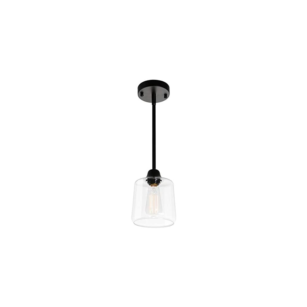 VILUXY Vintage Glass Pendant Light, Single Hanging Pendant Lighting, Black with Clear Glass Shade Classic for Farmhouse…