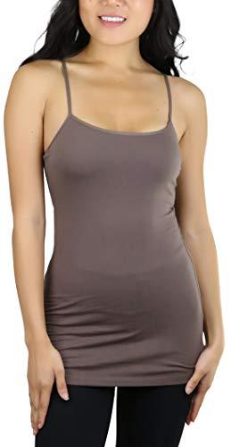 (ToBeInStyle Women's Tunic Cami with Shelf Bra - Coffee Brown - Medium)