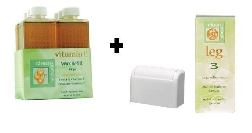 Clean & Easy Wax Refill 6-pack Large Vitamin E + Clean & Easy Wax Roller Head 3-pk Large (Vitamins Clean)