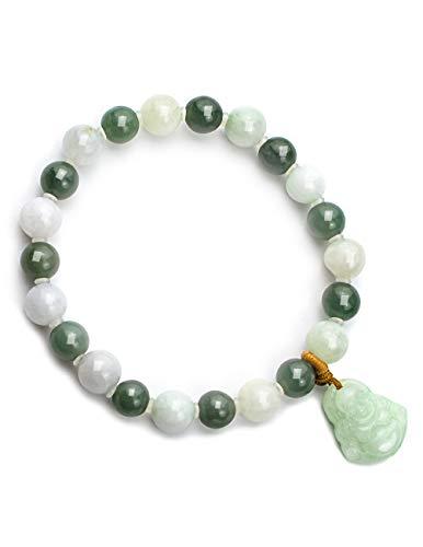 Dahlia Laughing Buddha Jade 8mm Bead Bracelet Genuine Certified Grade A Jadeite, 7.25