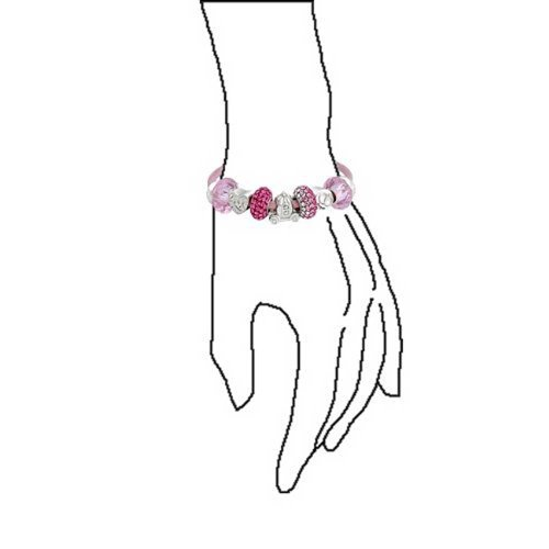 Forever Love Heart Valentine Pink Crystal Bead Charm Bracelet Genuine Leather Sterling Silver For Women Barrel Clasp by Bling Jewelry (Image #3)