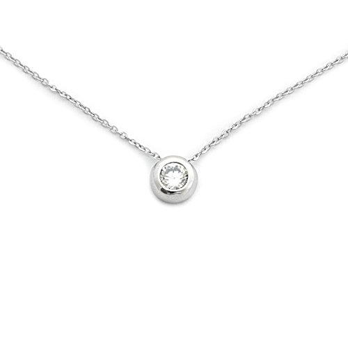 Solid Sterling Silver Rhodium Plated Bezel Set Cubic Zirconia Solitaire Pendant Necklace, 18
