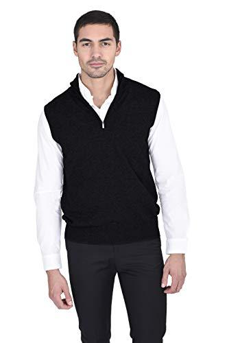 State Fusio Men's 1/4 Zip Wool Cashmere Vest Black