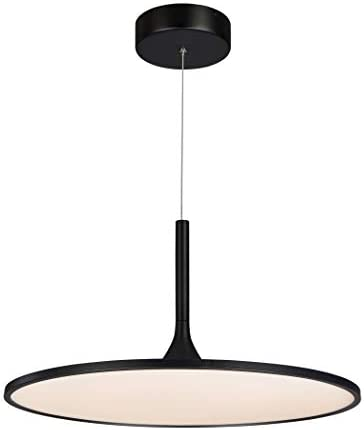 VONN VMC31820BL Modern Disc LED Chandelier Lighting with Adjustable Hanging Light, Black