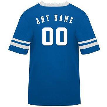 カスタマイズ名前/ Number On Back )ポリ/コットンアスレチックスポーツストライプスリーブジャージー/シャツサッカー、フットボール、カジュアル、学校。。。。21色、子供/大人サイズ8。 B00FL4P8L6 Youth Large|Royal/White Sleeves Royal/White Sleeves Youth Large