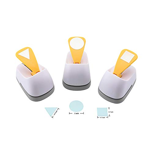 Craft Lever Punch 1-inch DIY Handmade Paper Punch for Festival and Greeting Card Making Ten Shapes Choices (White Square-Circle-Triangle)