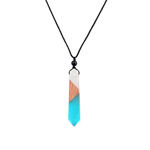 KUIYAI Epoxy Resin Wood Necklace Magic Pendant Handmade Jewelry Best Gift for Mom (Aqua)