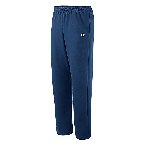 Champion Men's Open Bottom Eco Fleece Sweatpant, Navy, Large