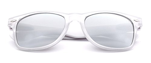 Colorful Retro Fashion Sunglasses Translucent Clear Matte Frame - Color Mirrored Lenses Clear - White