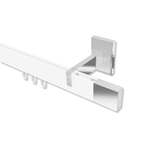 INTERDECO Gardinenstangen eckige Innenlaufstangen Weiß Chrom Smartline Lox, 180 cm