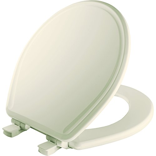 (MAYFAIR Toilet Seat will Slow Close, Never Loosen and Easily Remove, ROUND, Durable Enameled Wood, Biscuit/Linen, 48SLOWA 346)