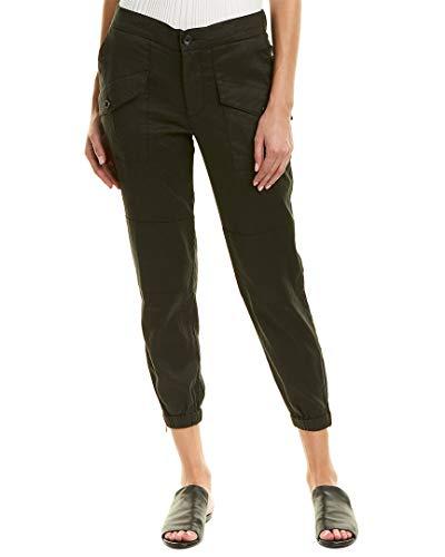 James Perse Womens Zippered Linen-Blend Pant, 27, Blk ()
