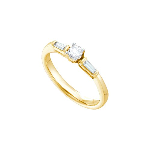 Size 5.5 - 14K Yellow Gold Round and Baguette Cut Diamond Engagement Ring - Prong Set Classic Traditional Solitaire Shape Center Setting - (.28 cttw.)