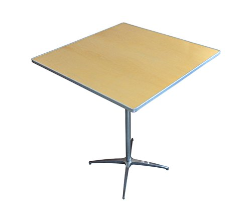 2.5' Diameter Bar - 30-Inch (2.5-Foot) Diameter Heavy Duty Square Cocktail or Bistro Solid Birch Wood Folding Table with 30-Inch or 42-Inch Height and Aluminum Edge for Bistros, Patios, Restaurants, Bars, and Weddings