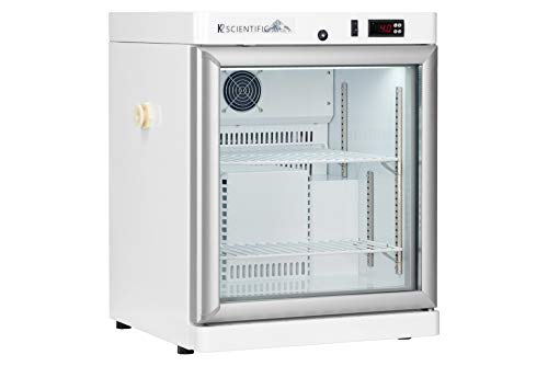 Scientific Refrigerator by K2 Scientific | for Pharmaceuticals & Vaccines | 2.5 Cu. Ft. | Benchtop Style | Glass Door | Smart Microprocessor Controls | Cycle Defrost | Adjustable Temperature Control