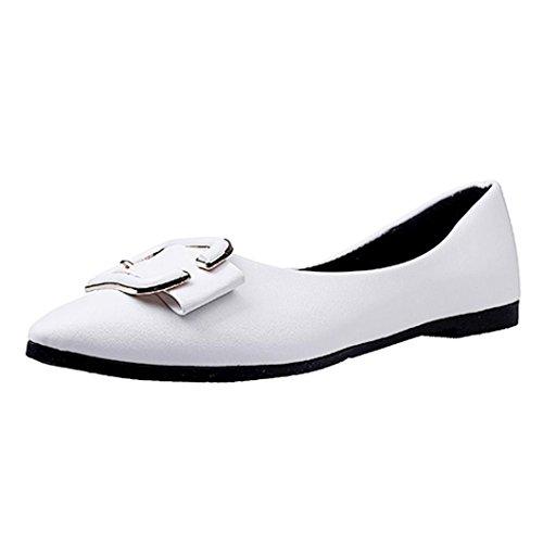 HKFV Damen Mädchen Mode Schuhe Spitze Schuhe Flache Ferse Ballett Prinzessin Schuhe Ballerinas Slipper Slip Ons Absatz in Mehreren Farben 36-40 Flandell White