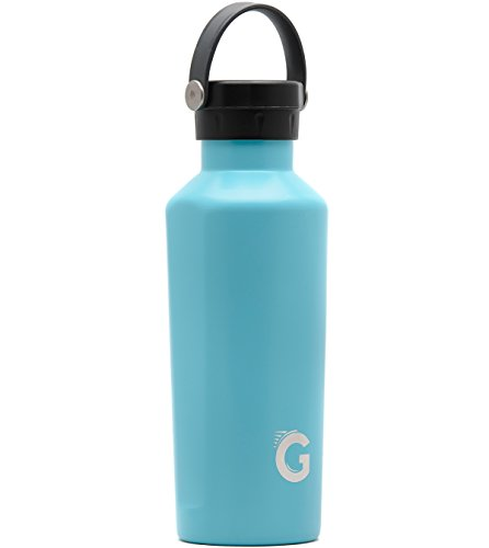 (GO Active Flex- Stainless Steel Double Wall Bottle comes with 3 lids. Use Hot as a Travel Coffee Mug or cold as Insulated Sport Bottle. Hot Drinks 12+ hours Cold drinks over 24hrs (Aqua, 24 oz))