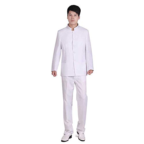 Chinese Tunic Suits Mandarin Collar Formal Black Suit Slim Fit Front Button Japanese School Uniform Groom Dress (White, Asia S(Bust 37.8