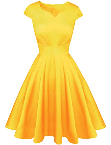 (Kingfancy Summer Cocktail Dress for Women, Vintage Sweetheart Neck Semi Formal Fit and Flare Midi Dress for Evening Party Yellow)