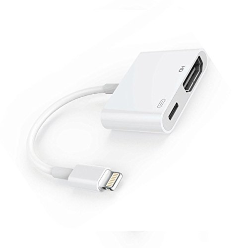 Lightning to HDMI Adapter, Lightning Digital AV Adapter, 1080p HDMI Connector for iPhone, Split Screen Adapter, Support iOS 11 and Before (white)
