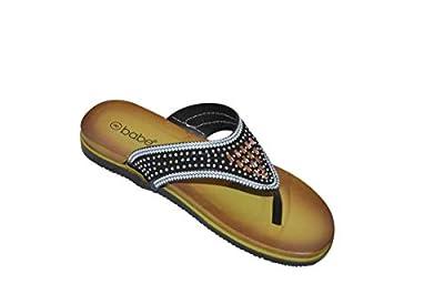 Babe Women's Fancy Rhinestone Jeweled Slip-on Flip-Flop Thong Sandals