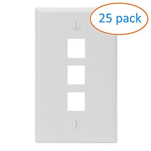 25 Keystone Wall Plates - Kenuco Keystone Wall Plate - White, 3 Ports, Pack of 25