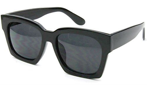 Large Oversized Square Retro Fashion Men Women Eyewear Sunglasses (Black, Black) (Square Sunglasses)