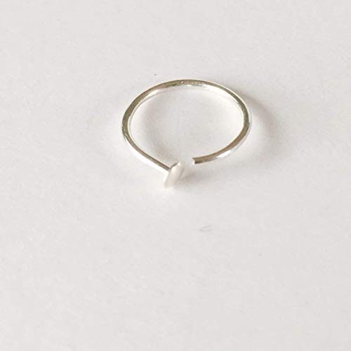 Nose Ring Hoop Sterling Silver - 20 Gauge 7mm-9mm Adjustable, Polishing Pad with Purchase