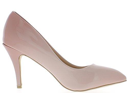 Escarpins grande taille roses vernis pointus à talon de 9,5 cm